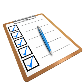 Checklist on a clipboard with all items checked off