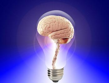a brain in a clear lightbulb