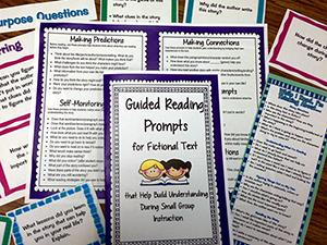 Copies of guided reading prompts booklets