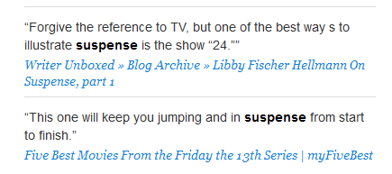 Examples using the word suspense